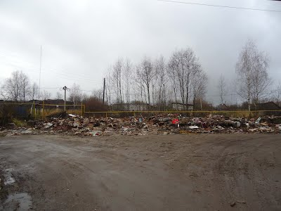 A photo of the rubble from the demolition of the old block of apartments